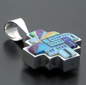 Supersmith Inc. - David Rosales Designs - Multistone Pictorial Inlay & Sterling Silver Reversible Step Pendant #39995 Style P173F $585.00
