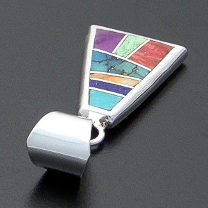 Supersmith Inc. - David Rosales Designs - Indian Summer Inlay & Sterling Silver Triangular Pendant #39996 Style P629 $140.00