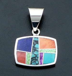 Supersmith Inc. - David Rosales Designs - Indian Summer Inlay & Sterling Silver Horizontal Rectangle Pendant #39998 Style P125 $230.00