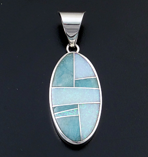 Supersmith Inc. - David Rosales Designs - Amazing Light Inlay & Sterling Silver Oval Pendant #40014 Style P329 $210.00