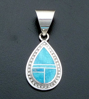 Supersmith Inc. - David Rosales Designs - Watermark Turquoise Inlay & Sterling Silver Beaded Teardrop Pendant #40015 Style P290 $145.00