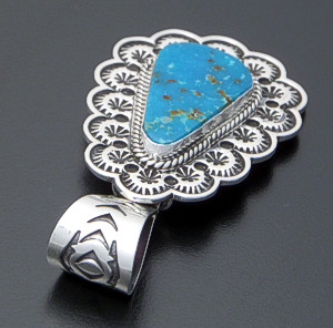 Sunshine Reeves (Navajo) - Turquoise & Stamped Sterling Silver Teardrop Pendant #40198 $300.00