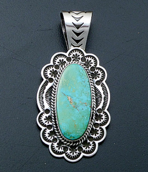 Sunshine Reeves (Navajo) - Oval Turquoise & Stamped Sterling Silver Pendant #40202 $300.00