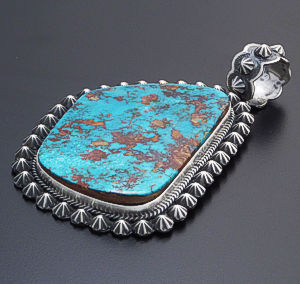 Darryl Becenti (Navajo) - Large Pilot Mountain Turquoise & Oxidized Sterling Silver Button Pendant #40416 $1,290.00