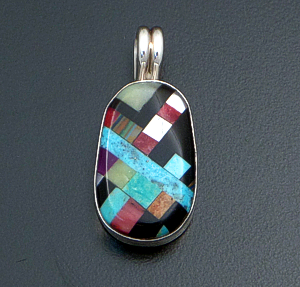 Santo Domingo - Smooth Multistone Inlay & Sterling Silver Small Oval Pendant #40827 $100.00