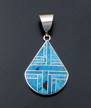 Supersmith Inc. - David Rosales Designs - Large Kingman Turquoise Inlay & Sterling Silver Angular Teardrop Pendant #41148 Style P018 $300.00
