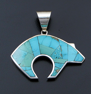 Supersmith Inc. - David Rosales Designs - Persian Turquoise Inlay & Sterling Silver Bear Pendant #41154 Style P259 $450.00