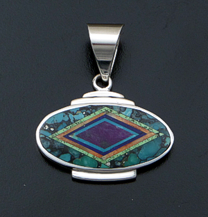 Supersmith Inc. - David Rosales Designs - Multistone Micro Inlay & Sterling Silver Horizontal Oval Edged Pendant #41159 Style P229M $295.00
