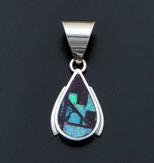 Supersmith Inc. - David Rosales Designs - Shalako Fancy Inlay & Sterling Silver Edged Teardrop Pendant #41166 Style P8003F $185.00