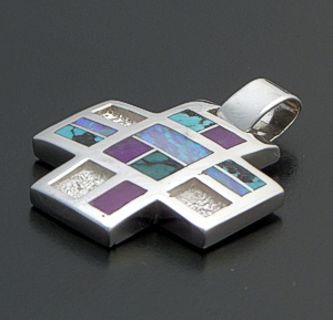 Supersmith Inc. - David Rosales Designs - Shalako Inlay & Sterling Silver Four Corner Pendant #41172 Style P828 $235.00