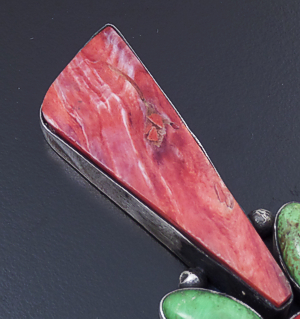 Navajo - Large Red Shell & Gaspeite Satin Finished Sterling Silver Pendant #42322 $265.00