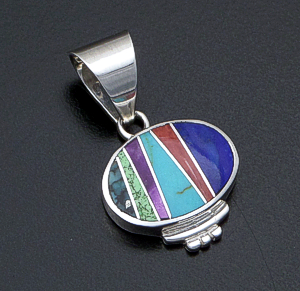 Supersmith Inc. - David Rosales Designs (Navajo) - Indian Summer Inlay & Sterling Silver Accented Oval Pendant #42368 Style P230 $160.00