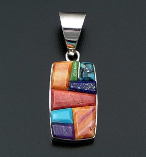 Supersmith Inc. - David Rosales Designs (Navajo) - Indian Summer Cobble Inlay & Sterling Silver Rectangular Pendant #42369 Style P124C $260.00