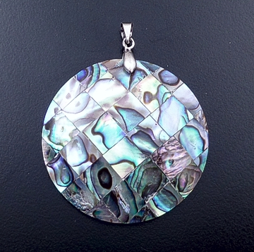 Navajo - Abalone Shell Inlay & Sterling Silver Angular Teardrop Pendant #42403A $30.00