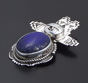 Bennie Ration (Navajo) - Ornate Lapis Lazuli & Sterling Silver Butterfly Maiden Kachina Pendant #42496 $270.00