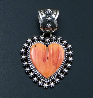 Happy Piasso (Navajo) - Orange Shell & Oxidized Sterling Silver Button Accented Heart Pendant #42558A $240.00