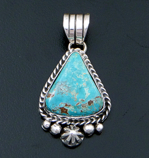 Linda Yazzie (Navajo) - Wide Turquoise & Sterling Silver Bead & Button Accented Triangular Pendant #42559C $200.00