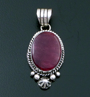Linda Yazzie (Navajo) - Oval Purple Shell & Sterling Silver Bead & Button Accented Pendant #42561 $105.00