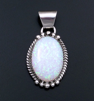 Jan Mariano (Navajo) - Ornate Gilson Opal & Sterling Silver Oval Pendant #43145A $95.00