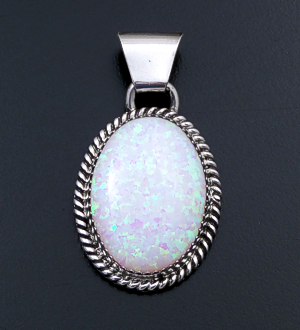 Jan Mariano (Navajo) - Gilson Opal & Sterling Silver Oval Pendant #43145B $95.00