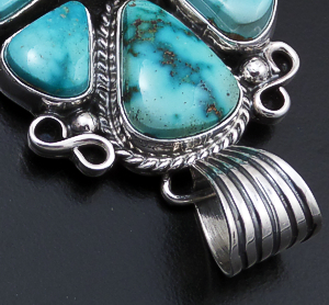 Geneva Apachito (Navajo) - Eight Stone Turquoise & Sterling Silver Fan Cluster Pendant #43182 $390.00