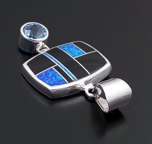 Supersmith Inc. - David Rosales Designs (Navajo) - Black Beauty Inlay, Faceted Blue Topaz, & Sterling Silver Rectangle & Round Drop Pendant #43287 P125G $435.00