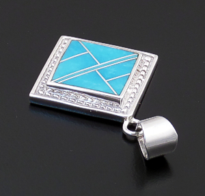 Supersmith Inc. - David Rosales Designs (Navajo) - Arizona Blue Inlay & Sterling Silver Ornate Square Pendant #43376 P296 $160.00