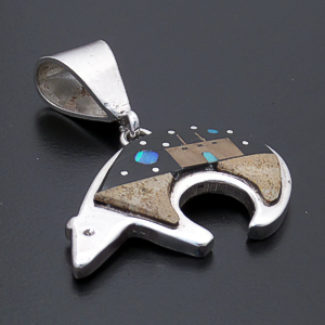 Merle House (Zuni) - Multistone Inlay & Sterling Silver Bear Pendant #43388 $200.00