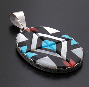 Velma Natachu (Zuni) - Oval Multistone Inlay & Sterling Silver Pendant #43436 $150.00