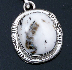 Navajo - Small Oval White Buffalo Turquoise & Sterling Silver Pendant #43961 $75.00