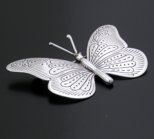 Joe Delgarito (Navajo) - Intricately Stamped Sterling Silver Butterfly Pin #34759 $100.00