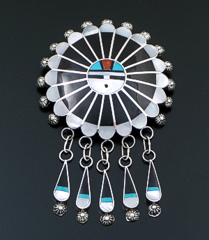 Abel Soseeah (Zuni) - Large Multistone Smooth Inlay & Sterling Silver Sunface Pin/Pendant #7474 $275.00
