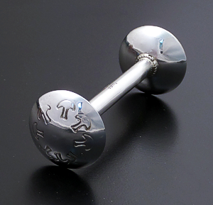 Monica Scott (Navajo) - Small Stamped Sterling Silver Barbell Baby Rattle #26813A $75.00
