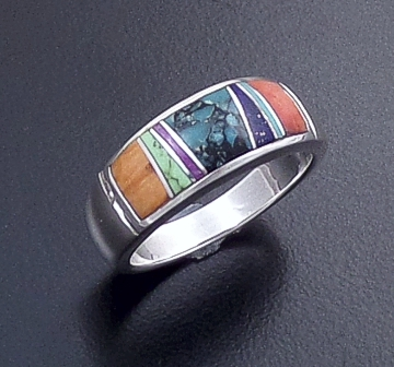 Supersmith Inc. - David Rosales Designs (Navajo) - Indian Summer Inlay & Sterling Silver Rounded Center Inlay Ring #13209 Style R021 $175.00