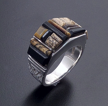 Supersmith Inc. - David Rosales Designs - Native Earth Cobble Inlay & Sterling Silver Raised Angular Ring #15604 Style R118C $275.00