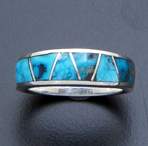 Supersmith Inc. - David Rosales Designs - Arizona Blue Watermark Inlay & Sterling Silver Tapered Ring #17357 Style R033 $190.00