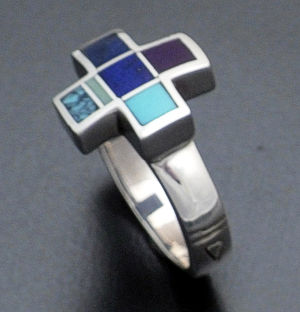 Supersmith Inc. - David Rosales Designs - Spring Mountain Inlay & Sterling Silver Four Corners Ring #17676 Style R284 $150.00