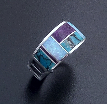 Supersmith Inc. - David Rosales Designs - Shalako Tapered Inlay & Sterling Silver Bar Pattern Ring #24324 Style R014 $195.00