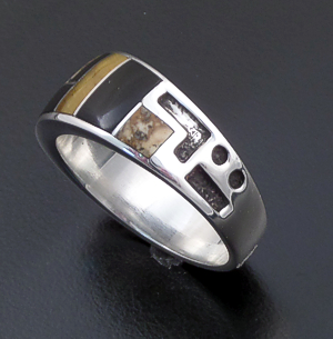 Supersmith Inc. - David Rosales Designs - Native Earth Inlay & Sterling Silver Code Talker Ring #24535 Style R030 $130.00