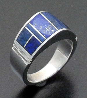 Supersmith Inc. - David Rosales Designs - Blue Water Domed Inlay & Sterling Silver Ring #24587 Style R125 $200.00