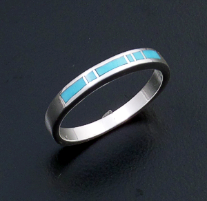 Supersmith Inc. - David Rosales Designs (Navajo) - Arizona Blue Inlay & Sterling Silver Extra Narrow Ring #25669 R100 $125.00