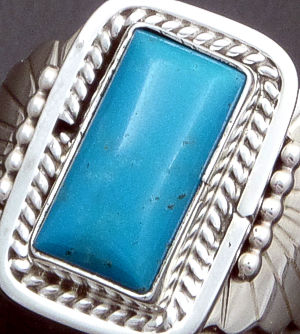Navajo - Rectangular Blue Turquoise & Sterling Silver #26432 Size 9 $90.00