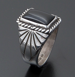 Delbert Vandever (Navajo) - Rectangle Black Onyx & Sterling Silver Tapered Fan Ring #26787 Size 10 $120.00