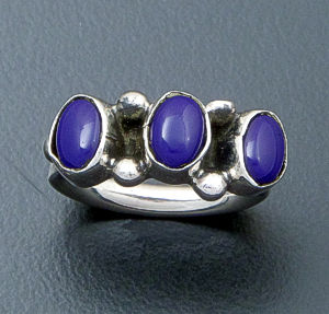 Navajo - Triple Stone Oval Lapis & Sterling Silver Ring #29190 $50.00