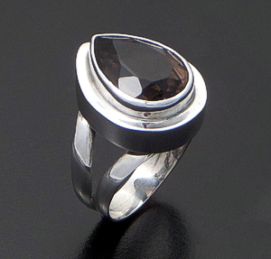 Balinese - Faceted Teardrop Smoky Quartz & Sterling Silver Ring #30210 Size 6 $60.00