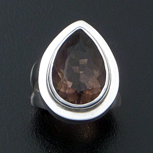 Balinese - Faceted Teardrop Smoky Quartz & Sterling Silver Ring<br />   #30210 Size 6 $60.00