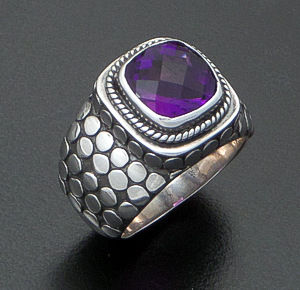 Balinese - Faceted Square Amethyst & Sterling Silver Armadillo Ring #30511 Size 8 $95.00