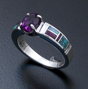 Supersmith Inc. - David Rosales Designs (Navajo) - Oval Amethyst Shalako Inlay & Sterling Silver Lined Ring #33033 Style R128 $260.00