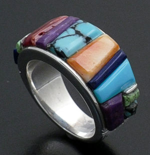 Supersmith Inc. - David Rosales Designs - Indian Summer Cobble Inlay & Sterling Silver Tapered Ring #33052 Style R130C $290.00