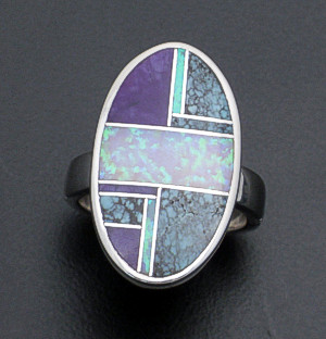 Supersmith Inc. - David Rosales Designs - Shalako Oval Sterling Silver Inlay Ring #35992 Style R183 Size 7.5 $240.00